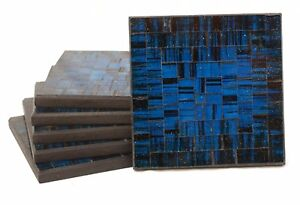 Set of Six Hand Made Blue & Silver Glitter Glass Mosaic Drinks Coasters Gift