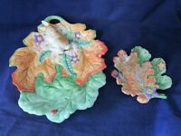 Fitz and Floyd Classics Woodland Spring Bunny Rabbit On Leaf Nest Two Pc Set EUC