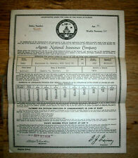 1928 Life insurance policy, Agents National Insurance Co. Orlando, Fla.