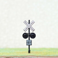 4 x HO railway grade crossing signals 2 targets one side lights black #HO2BL