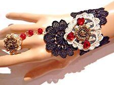 DARK CUPID LACE CUFF slave bracelet ring corsage gothic prom vampire black 3W