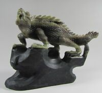 Collection Exquisite Hand-carved Fierce lizard carving Dushan jade statue#B522