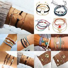 Boho Rope Weave Bracelet Set Women Beach Tassel Heart Bow Shell Bangle Jewellery