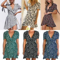 Women Summer Boho Wrap Shorts Dress Casual Beach Loose Party Mini Sundress Tops