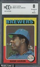 1975 Topps #660 Hank Aaron Milwaukee Brewers HOF BCCG 8