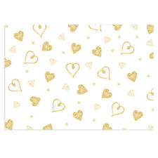 Unique High Quality Gold Hearts/White Background Gift Wrap - (297x420mm)-GP178