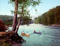 "1902 Canoeing, Adirondack Mountains, NY Vintage Photograph 8.5"" x 11"" Reprint"
