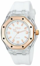 Tocs 40901 White Rubber Strap White Dial Rose Gold Tone & Clear Case Watch