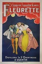 """""""the exquisite aniseed liqueur fleurette (henri IV)"""" original 1925 poster entoilée"""