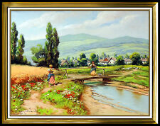 Laszlo Neogrady Original Oil PAINTING on CANVAS Signed Large Landscape Artwork