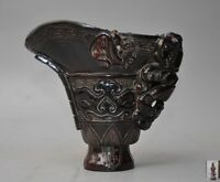 Rare china Old Ox horn Hand carve Dragon Beast pattern Statue Oxhorns Goblet Cup