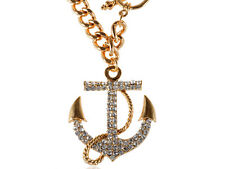Gold Metal Tone Rhinestone Embellished Anchor Pendant Short Chain Necklace Clr