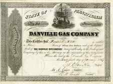 1857 Danville Gas Co Stock Certificate