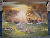 GALLEY MAST CLIPPER BATTLE SHIP NAUTICAL OCEAN BOAT FLAGS WAR CANONS PAINTING