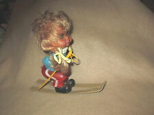 Vintage Rubber Plastic Doll On Skis Japan ? Very Good condition