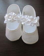 BABY GIRLS CHRISTENING BAPTISM SHOES WHITE IVORY FLOWER SOFT PRAM SHOE NEW