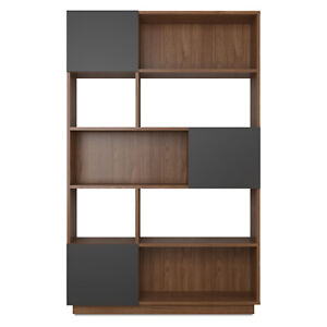 Walnut & Grey Johnson Wide Bookcase
