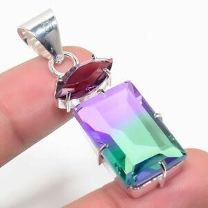 "Bi-Color Tourmaline & Amethyst Gemstone 925 Sterling Silver Jewelry Pendant 2"""