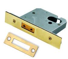 "Oval Profile Cylinder Deadlock Case 3"" Polished Brass Door Dead Lock 76mm"