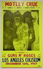 """Motley Crue Concert Poster 1987 w/ Guns N' Roses Girls Girls Girls Tour 14""""x22"""""""