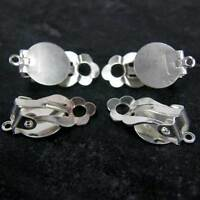 Silver Plated Clip On Earrings Blanks With 10mm Flat Pads  or RUBBER COMFORT