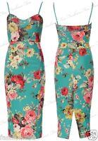 **New Womens Ladies Multi colour Floral Print Strapy Bodycon Midi Party Dress **