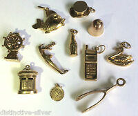 Modern & Vintage 375 9ct Gold Charms for Charm Bracelet - Piano Ballerina Frog