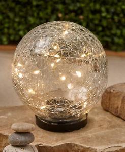 Large Solar Powered Warm White Lights Crackle Glass Garden Gazing Globe