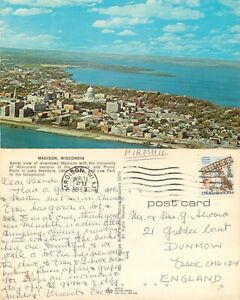 s14541 Aerial view, Madison, Wisconsin, USA postcard  1980 stamp *COMBINED SHIP