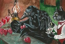 LE #4 4X6 POSTCARD RYTA VINTAGE STYLE ART VALENTINES DAY BLACK CAT RAVEN CROW