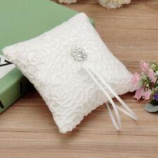 Wedding Ceremony Ivory Satin Crystal Flower Ring Bearer Pillow Cushion 6inch