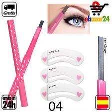 3 Plantillas + #4 Lapiz impermeable GRIS CEJAS Ceja delineador ojos maquillaje d