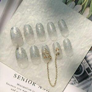 3D Rhinestones Diy Full Artificial False Nail Tips Holographic Silver Glitter