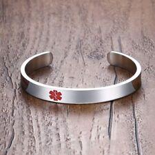 Women Silver Name Medical Alert ID Bangle Cuff Emergency Bracelet Free Engraving