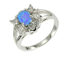 Oval Lab Created Opal Sterling Silver Women's Jewelry Engagement Wedding Ring