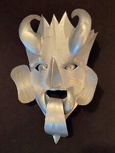 Small Vtg Taxco Mexican Folk Art Tin Horned Devil Demon Mask Primitive Tourist
