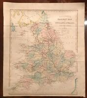 Gilbert's Railway Map of England & Wales with the Canals. c1880's