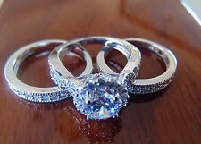 3.50 ct Round cut 14K White Gold Man Made diamond Engagement Ring 3 piece