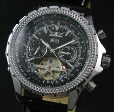 Luxury Automatic Mechanical Tourbillon Leather Strap Week Date Mens Wrist Watch