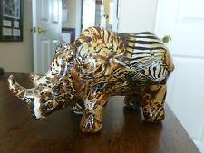 Rhinoceros Figurine - Patterned Rhino Figurine - Hard Plastic/Composite?