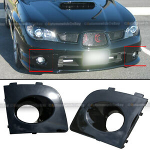 Fit 06 07 Impreza WRX Pair Black Painted Fog Light Lamp Bezel Bumper Cover Cap
