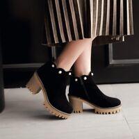 Women's Casual Ankle Boots Platform Beads High Block Heels Zipper Suede Shoes