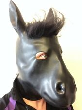 LATEX RUBBER BLACK FETISH HORSE MASK FULL HEAD HOOD ANIMAL SUIT STALLION GIMP