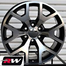 "20"" inch 20 x9"" Wheels for Cadillac Escalade Black Machined GMC Sierra 2014 Rims"