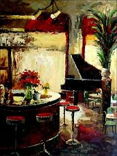Bar Counter with Piano Heavy Impasto Quality Hand Painted Oil Painting 30x40in