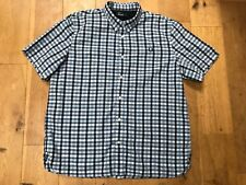 FRED PERRY Cotton Blue & White Check Short Sleeve Button Down Shirt @ Size XXL