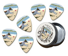 Terrier On Beach Martin Wiscombe 6 X Guitar Picks In Tin Vintage Retro