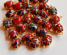VINTAGE 4 MILLEFIORI GLASS OVAL PENDANT BEADS • 10x8mm • RED