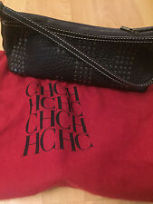 Preowned Carolina Herrera Black Leather Baguette Bag handbag with studs !!! NB