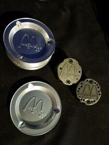 "4x Vintage McDonald's Restaurant Aluminum Ashtrays 3.5"" Wide"